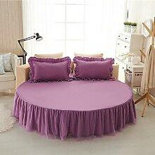 Drap-housse de lit rond en coton, couleur unie,