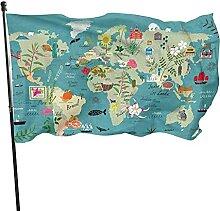 Drapeau de jardin 1,5 x 0,9 m - Carte du monde