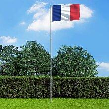 Drapeau France et mat en aluminium 6 m