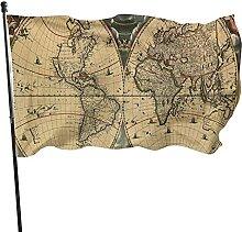 Drapeau vintage daté de la vieille carte du monde