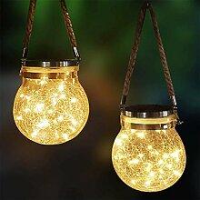 DSHOW Lot de 2 lanternes solaires à LED en verre