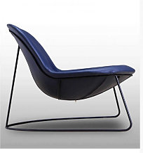 DUCK - Fauteuil contemporain en simili cuir bleu