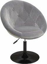 DUHOME Fauteuil de salon gris velours fauteuil
