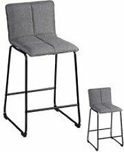 Duo de tabourets de bar gris tissu/métal - rang -