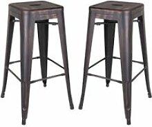Duo de tabourets de bar métal noir vieilli -