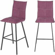 Duo de tabourets de bar métal/tissu rose - fresno