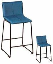 Duo de tabourets de bar turquoise tissu/métal -