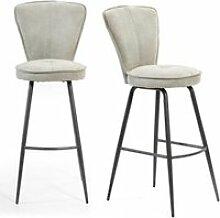 Duo de tabourets hauts gris clair tissu/métal -