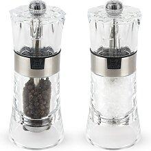 Duo moulin à poivre et salière manuel en acryl