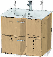 Duravit XBase meuble-lavabo mural L:60 cm avec 2