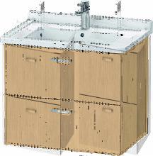 Duravit XBase meuble-lavabo mural L:65 cm avec 2