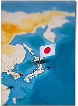 DV DESIGN 1 affiche A1 - Carte du monde du Japon -