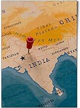 DV design 1 affiche A1 - Carte du monde indienne -