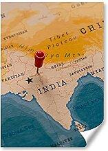DV DESIGN 1 affiche A2 - Carte du monde de Delhi