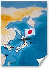 DV DESIGN 1 affiche A3 - Carte du monde du Japon -