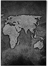 DV DESIGN 1 x Poster A1 – BW – Carte du monde
