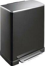 e-cube poubelle à pédale rectangle 50l noir/inox
