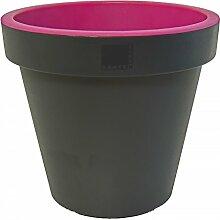 E&K Cache-pot en plastique Anthracite avec bord