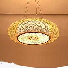 E27 Lampe de plafond en bambou et rotin naturel