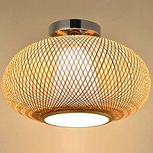 E27 Vintage Plafonnier Antique Bambou Lampe De
