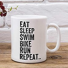 Eat Sleep Swim Bike Run Repeat Mug de triathlon