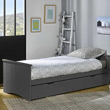 Ebac Literie - Lit gigogne 80x190 bois gris