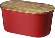 ECHTWERK Fresh Boîte à Pain, Bois, Rouge, 37 cm