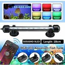Éclairage bluetooth Lampe Aquarium 18cm 9 LED RGB