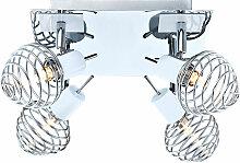 Éclairage plafonnier blanc lampe chrome boule 4 x