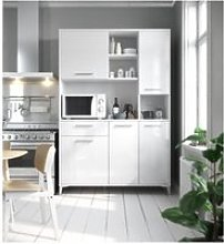 Eco buffet de cuisine l 120 cm - blanc brillant