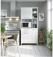 Eco buffet de cuisine l 80 cm - blanc brillant