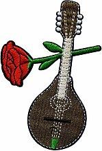 Écusson Mandoline Fleur Rose Rouge Patch