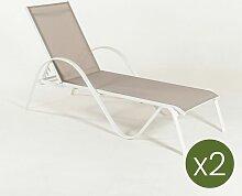 Edenjardin - Lot de 2 chaise longue inclinable en