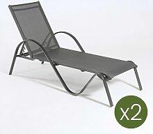Edenjardin - Lot de 2 chaises Longues Kalmon