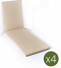 Edenjardin - Lot de 4 coussins pour chaise longue