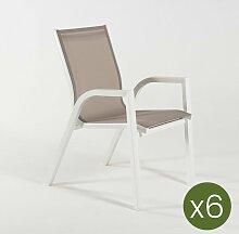 Edenjardin - Lot de 6 fauteuils de Jardin