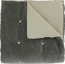 Edredon en velours de coton 90x200 cm anthracite