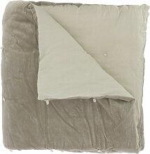 Edredon en velours de coton 90x200 cm beige