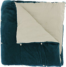 Edredon en velours de coton 90x200 cm bleu orage