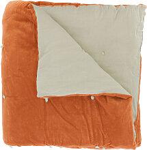Edredon en velours de coton 90x200 cm orange