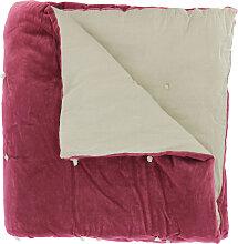 Edredon en velours de coton 90x200 cm terre rouge