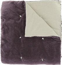 Edredon en velours de coton 90x200 cm violette