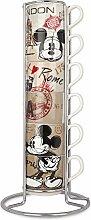Egan service 6 tasses à café empilables Mickey