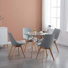 EGGREE Ensemble Table à Manger + 4 Chaises