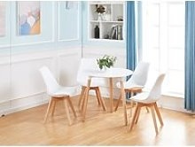 EGGREE Table Blanc+4 chaises blanc Ensemble de