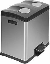 EKO Recycle Poubelle à Pédale Métal Inox 38,2 x