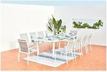 Elada, salon jardin alu gris clair & blanc