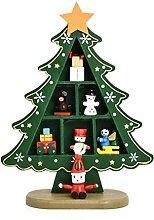 ELAULA Mini sapin de Noël artificiel en bois pour