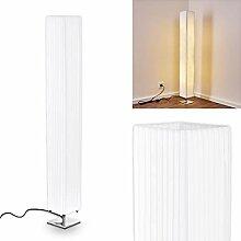 Élégant lampadaire Newtok en tissu blanc - Lampe