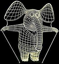 Éléphant 3D coloré lampe de bureau illusion